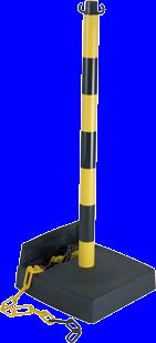 Poteau PVC Jaune/Noir avec réserve de chaîne sur socle lesté 6kg - 2000765