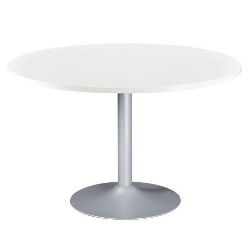 table ronde excellens plateau blanc diam tre 120 cm pied colonne bruneau comparer les prix de. Black Bedroom Furniture Sets. Home Design Ideas