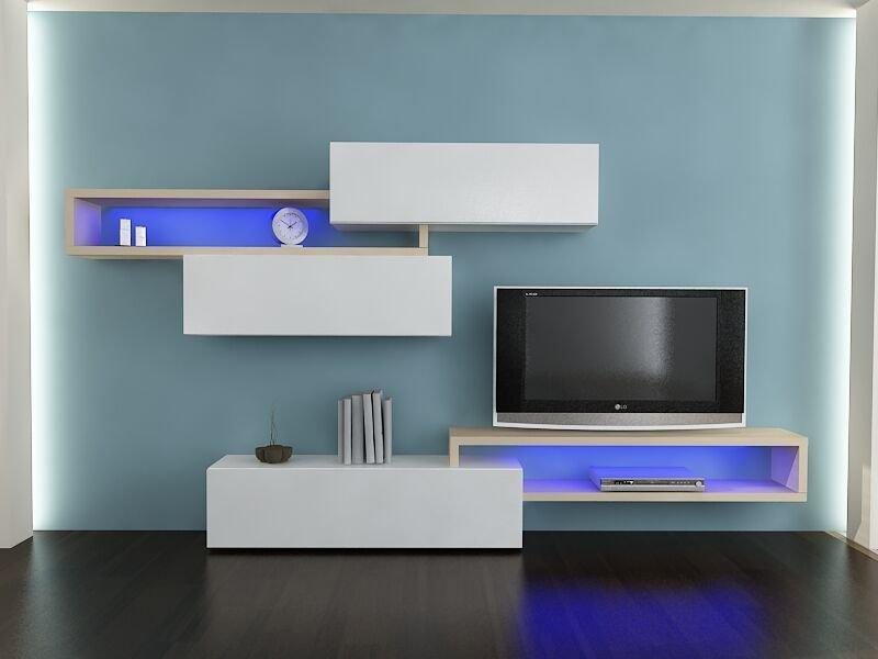 Composition murale tv design catena blanc et ch ne sonoma - Composition murale tv design ...