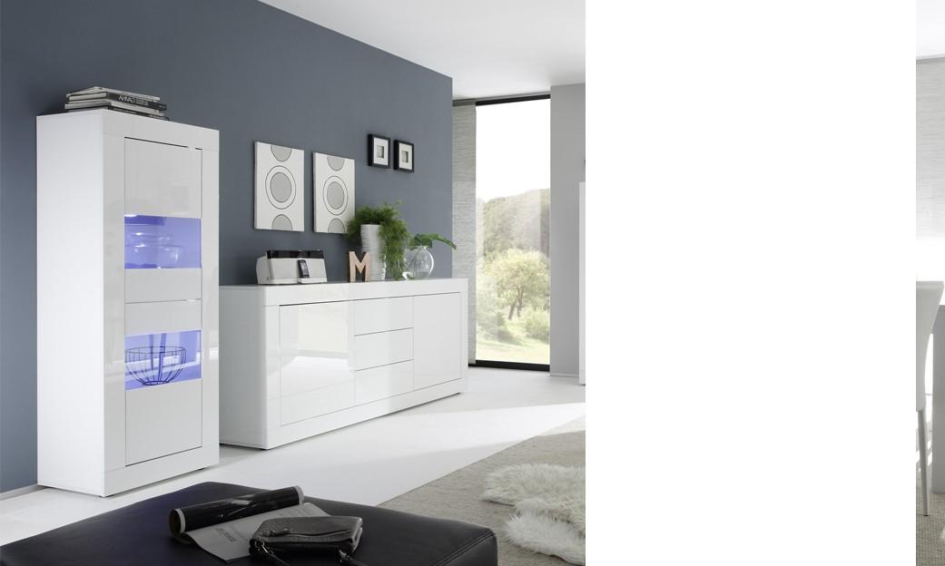 Vitrines de salon 2 portes laquée blanche design focus, avec éclairage led en option