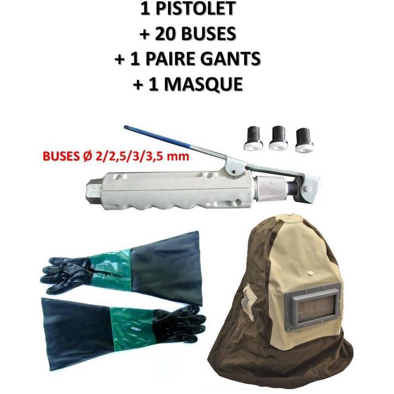 PISTOLET GACHETTE DE SABLAGE POUR SABLEUSE MOBILE + 20 BUSES + 1 PAIRE DE GANTS + 1 MASQUE - EQUIPEMENT EXPRESS SICOBA