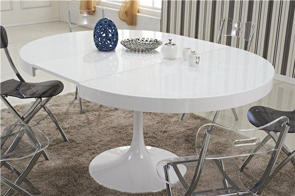 Table ronde extensible tulipe blanche for Table blanc laquee carree extensible