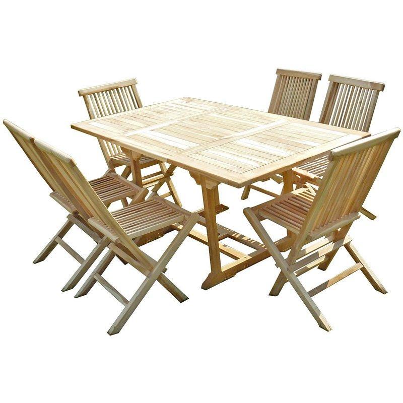 Ensemble salon de jardin en teck serang 6 chaises c l - Table de jardin plastique vert saint paul ...