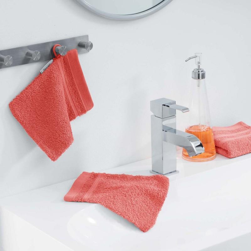 Lot de 2 gants de toilette vitamine 15x21cm corail - paris prix