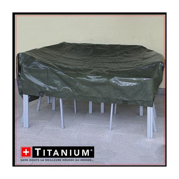 Housses pour mobiliers de jardin titanium achat vente for Housse pour table de jardin ovale 200 cm