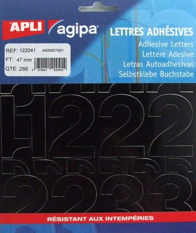 POCHETTE DE 286 CHIFFRES ADHÉSIFS NOIRS - APLI AGIPA - 47 MM