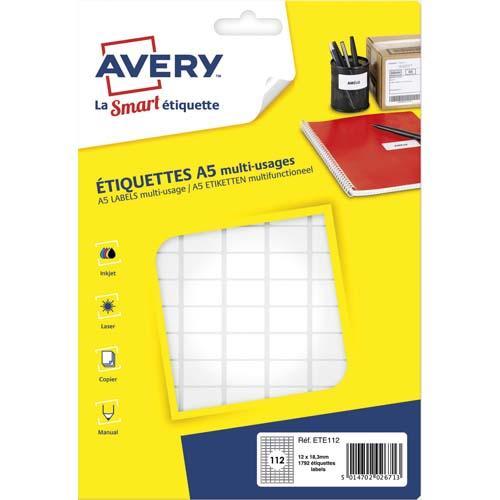 Avery sachet de 1792 étiquettes multi-usage blanches 12,8 x 18,3 mm. planche format a5. ete112