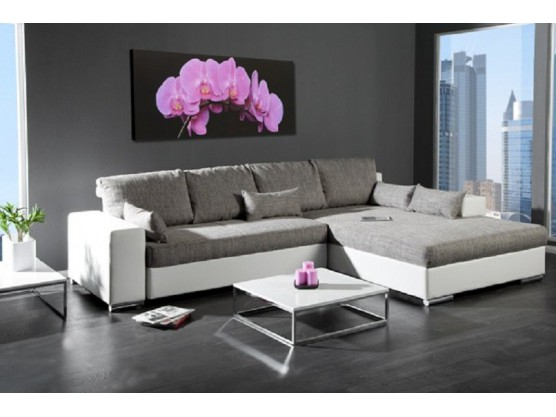 Canape convertible d angle mirage blanc gris