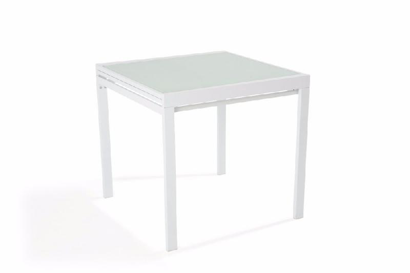 Table repas carr extensible verny blanc comparer les prix - Table carre extensible ...