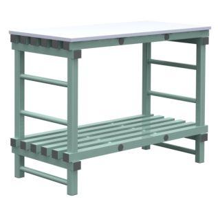 TABLES DE DÉCOUPE 100-120-140 X 60 CM, 2 NIVEAUX, DESSUS PE BLANC 2 CM
