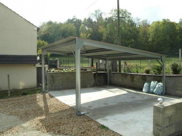 abri voiture autoportant structure en acier toiture plate. Black Bedroom Furniture Sets. Home Design Ideas