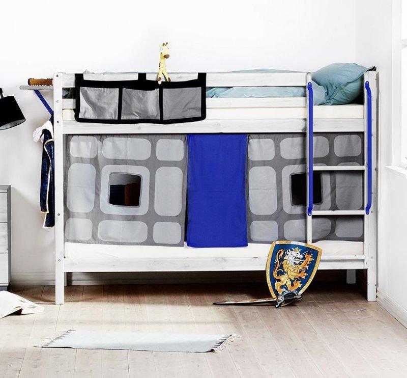 lit superpose flexa en pin vernis blanchi couchage 90 x 200. Black Bedroom Furniture Sets. Home Design Ideas