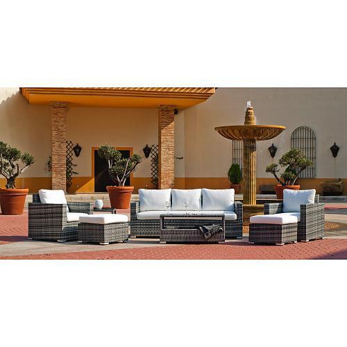 SALON DE JARDIN MARACAIBO 1 CANAPÉ 2 PLACES + 2 FAUTEUILS + 1 TABLE BASSE + COUSSINS INDOOR OUTDOOR
