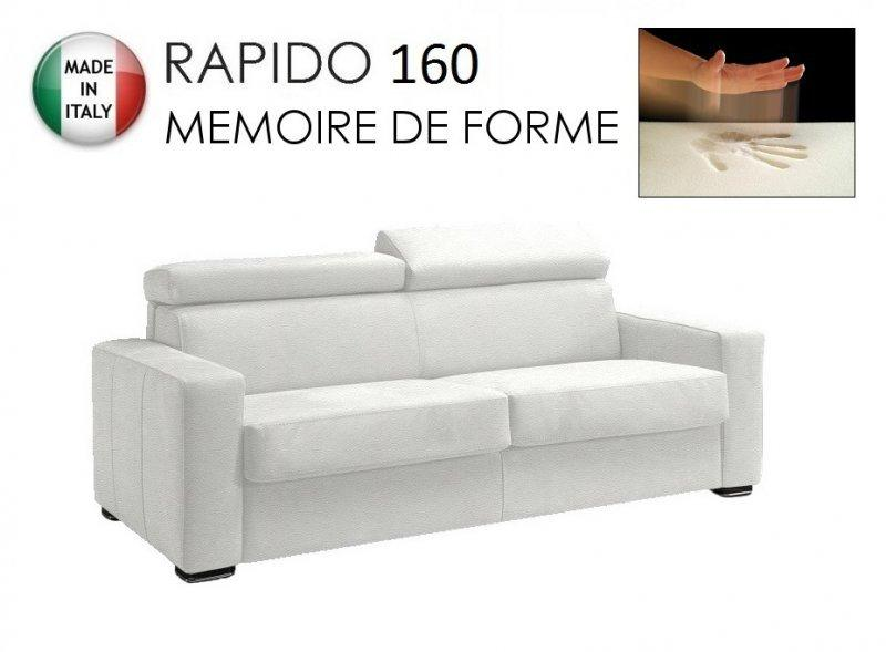 Canape rapido sidney memory matelas 160 14 190 cm memoire de forme cuir eco blanc - Matelas 160 memoire de forme ...