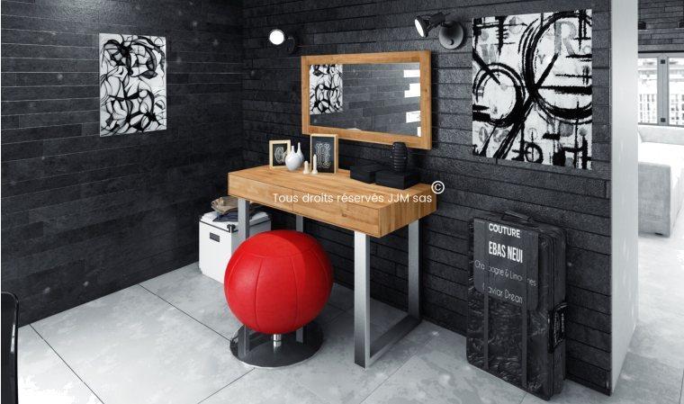 coiffeuse en bois massif design styl. Black Bedroom Furniture Sets. Home Design Ideas