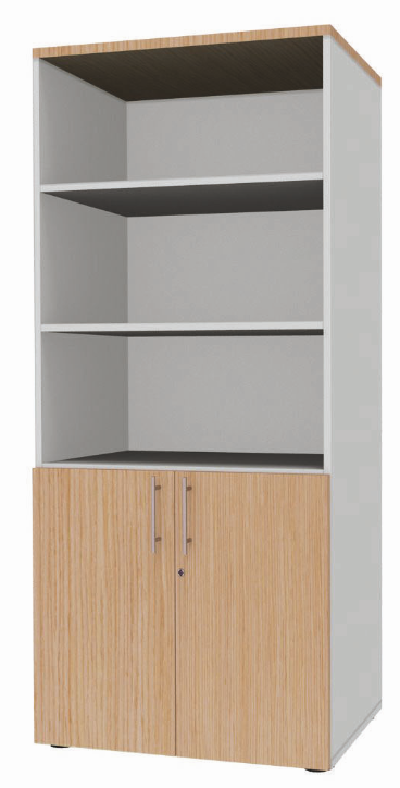 biblioth que haute 2 portes basses et 4 tablettes ineo. Black Bedroom Furniture Sets. Home Design Ideas