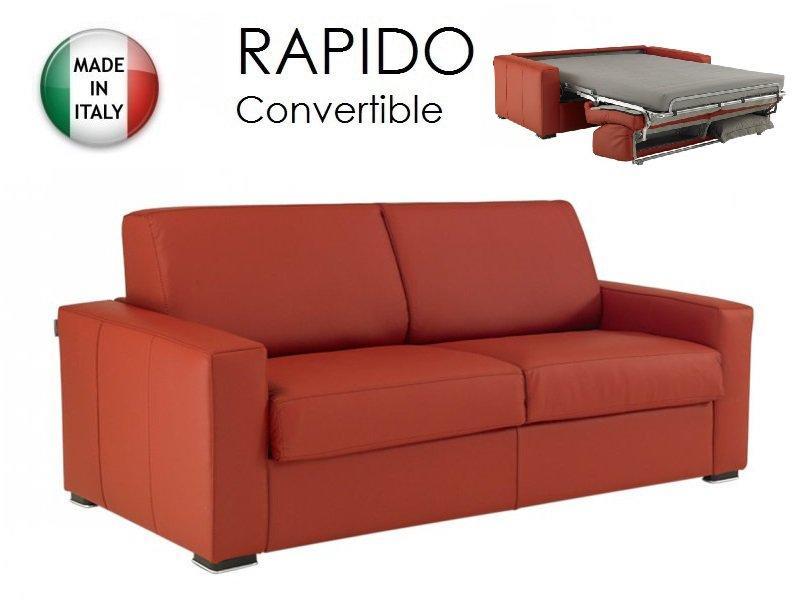 Canape convertible rapido 140cm dreamer cuir eco rouge couchage quotidien - Canape convertible cuir rouge ...
