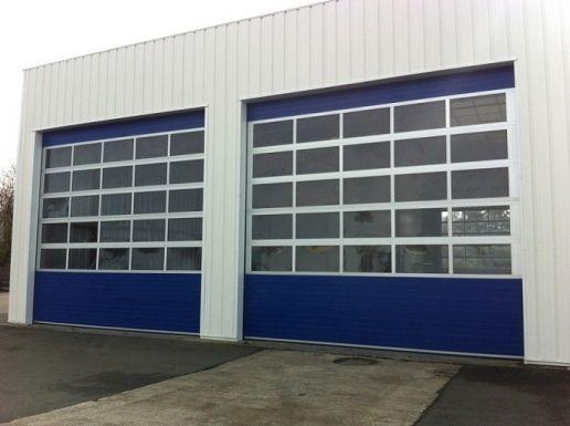 Porte sectionnelle industrielle cristal/manuel/semi-vitrée/en panneau sandwich