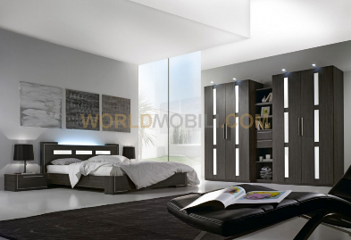 zenith blanc chambre a coucher complete lit armoire commode chevets miroir. Black Bedroom Furniture Sets. Home Design Ideas