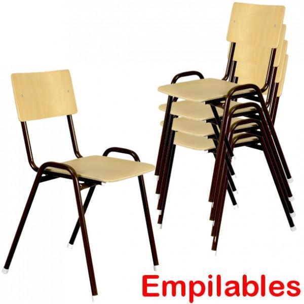 Chaise en bois empilable avec dossier empilable