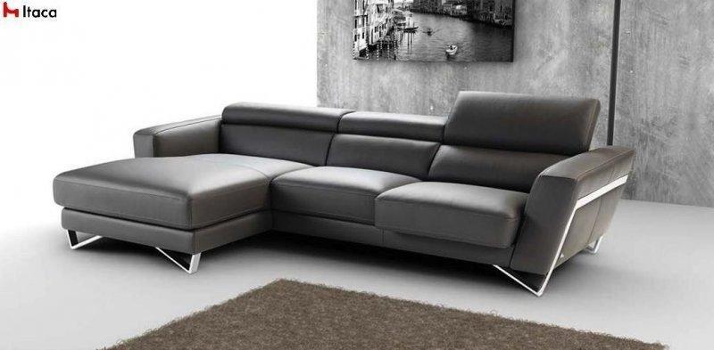 canape d 39 angle 306 172cm itaca de nicoletti meridienne gauche cuir vachette. Black Bedroom Furniture Sets. Home Design Ideas