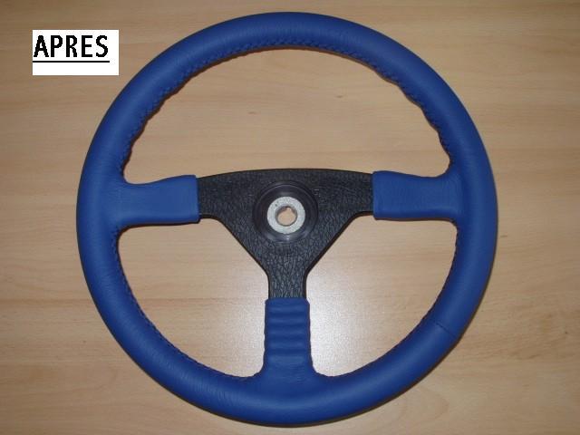 Gainage volant - cuir bleu