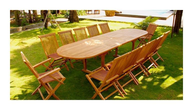 kajang salon de jardin teck brut 12 14 pers table ovale 90 cm 10 chaises 2 fauteuils. Black Bedroom Furniture Sets. Home Design Ideas