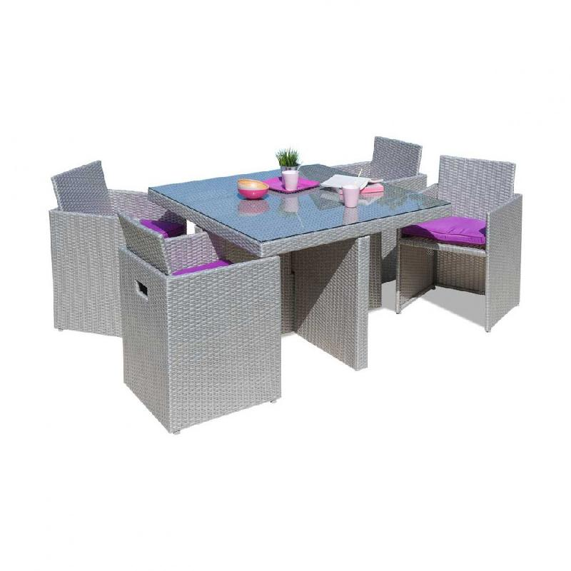 Table de jardin en pvc maison design - Comment nettoyer un salon de jardin en teck ...