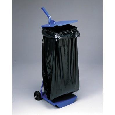 support sac poubelle tole avec couvercle et roulettes. Black Bedroom Furniture Sets. Home Design Ideas