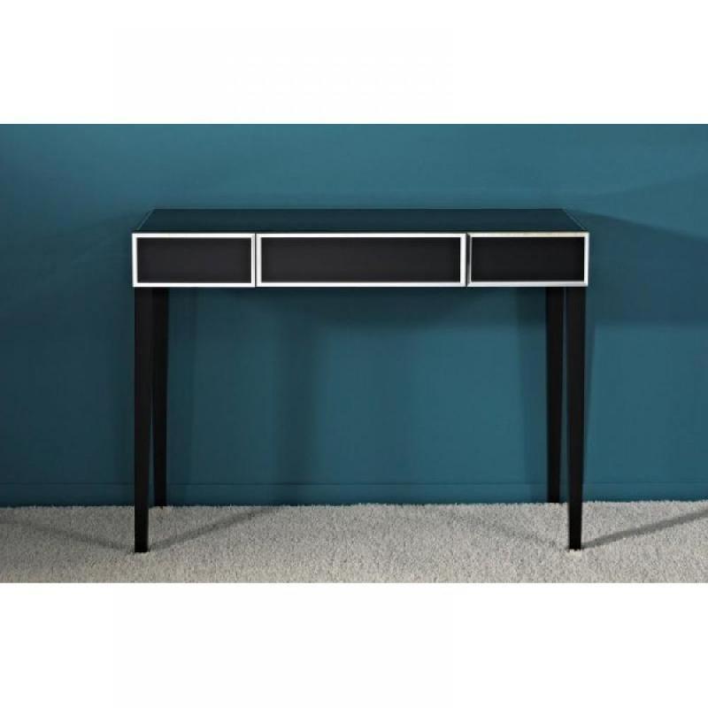 diamant console avec tiroir central en verre noir comparer les prix de diamant console avec. Black Bedroom Furniture Sets. Home Design Ideas