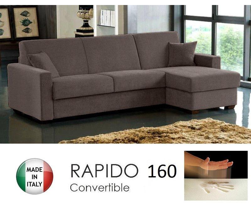 canape d 39 angle convertible rapido 160cm dreamer tissu tweed cross marron matelas 160 14 190 cm. Black Bedroom Furniture Sets. Home Design Ideas