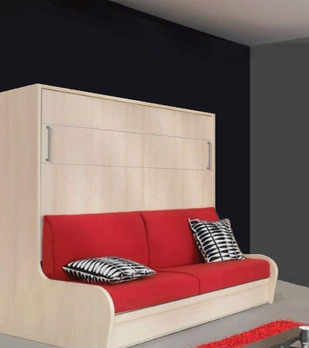 armoire lit transversal campus autoporteur avec canape pliant couchage 140 14 190 cm. Black Bedroom Furniture Sets. Home Design Ideas