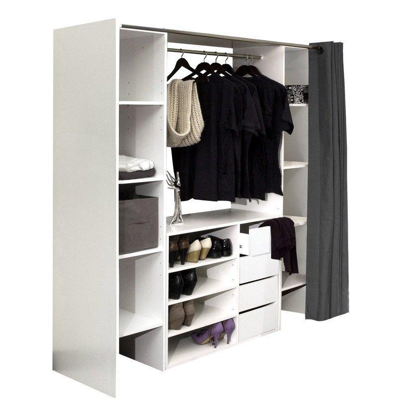 Dressing extensible chica 2 colonnes 4 tiroirs blanc avec rideau ...