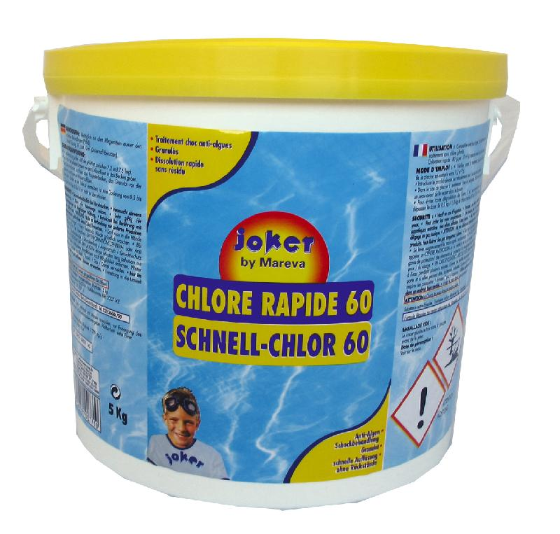 Traitement piscine de choc rapide au chlore 60 joker for Allergie au chlore de piscine