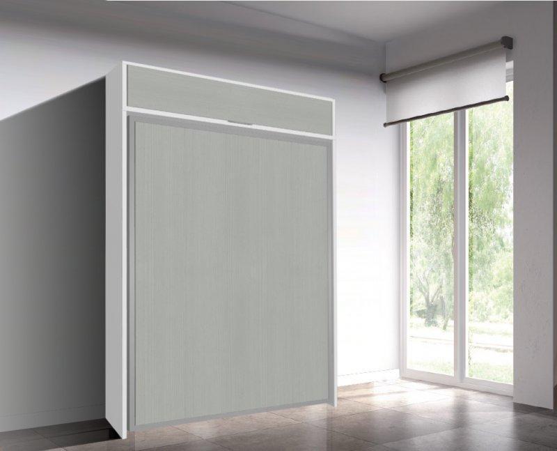 Armoire lit escamotable eos chene gris couchage 140 22 for Lit meuble escamotable