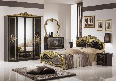 Laura noir et dore, chambre a coucher complete, lit, armoire ...