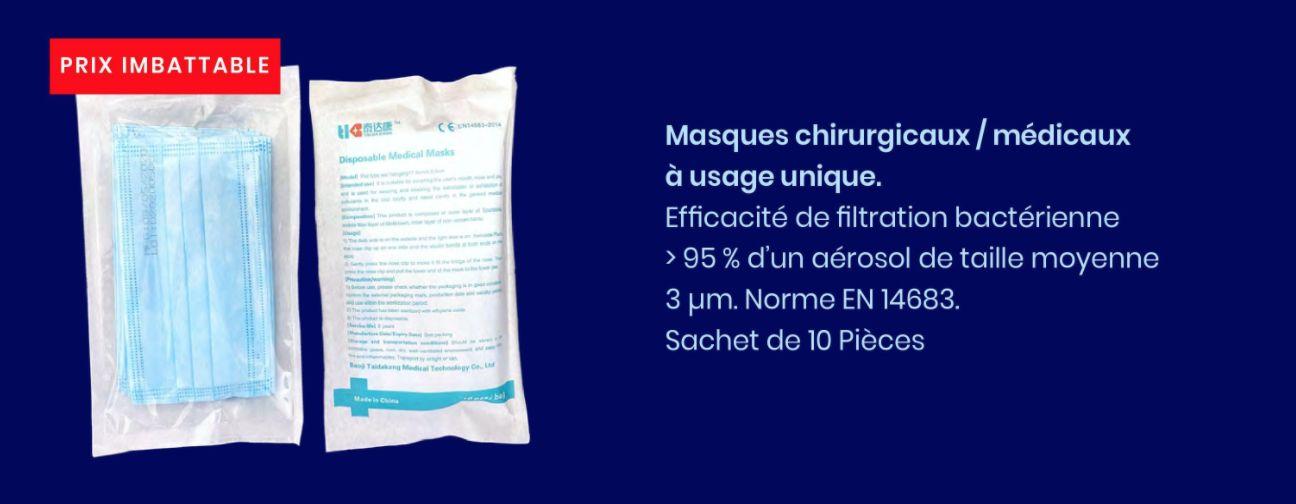 Masque chirugical 3 plis en14683 sachet de 10 pieces