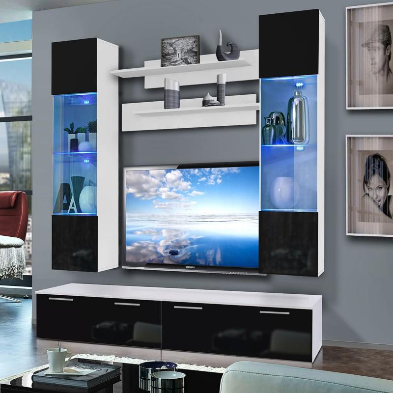 Meuble tv mural ledge vi twin 200cm noir & blanc - paris prix