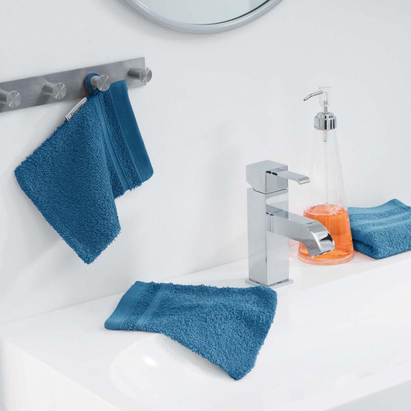Lot de 2 gants de toilette vitamine 15x21cm bleu pétrole
