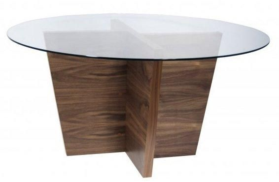 Temahome oliva table repas ronde design bois plateau verre - Table ronde verre bois ...
