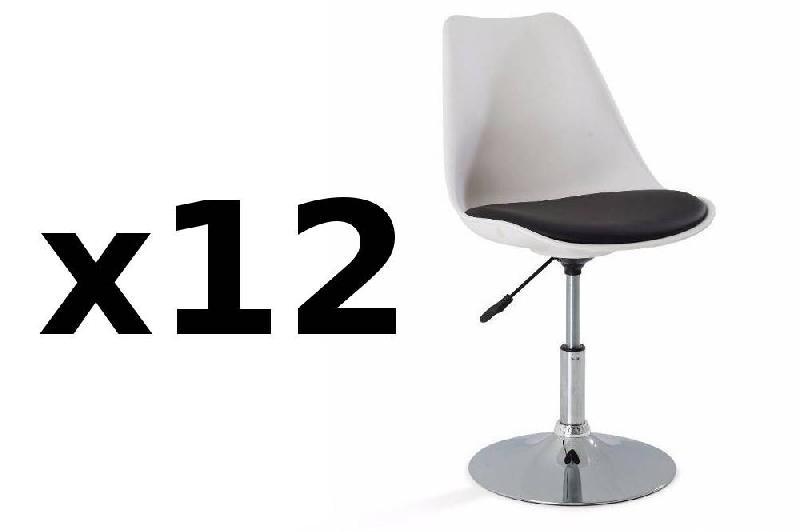 Lot de 12 chaises de bureau reglable paris similicuir