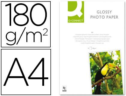 PAPIER PHOTO Q-CONNECT A4 180G /M2 SEMI-GLACÉ BRILLANT COMPATIBLE TOUTES IMPRIMANTES JET ENCRE PAQUET 20F