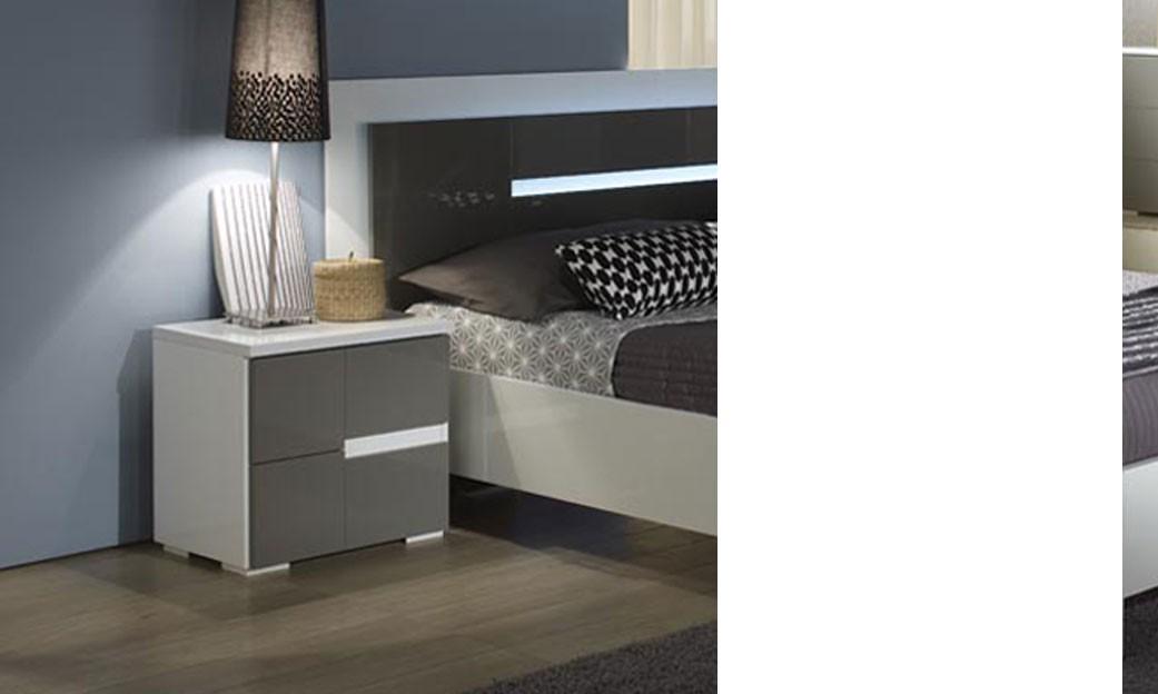 Table de chevet gris et blanc design ombrine - Tables de chevet design ...