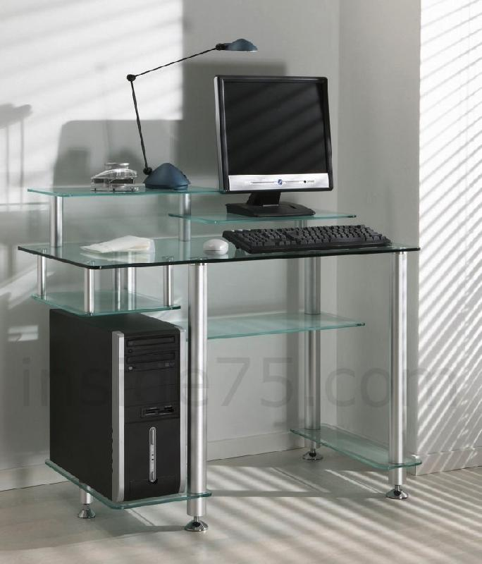 little desk bureau verre transparent 7 plateaux. Black Bedroom Furniture Sets. Home Design Ideas