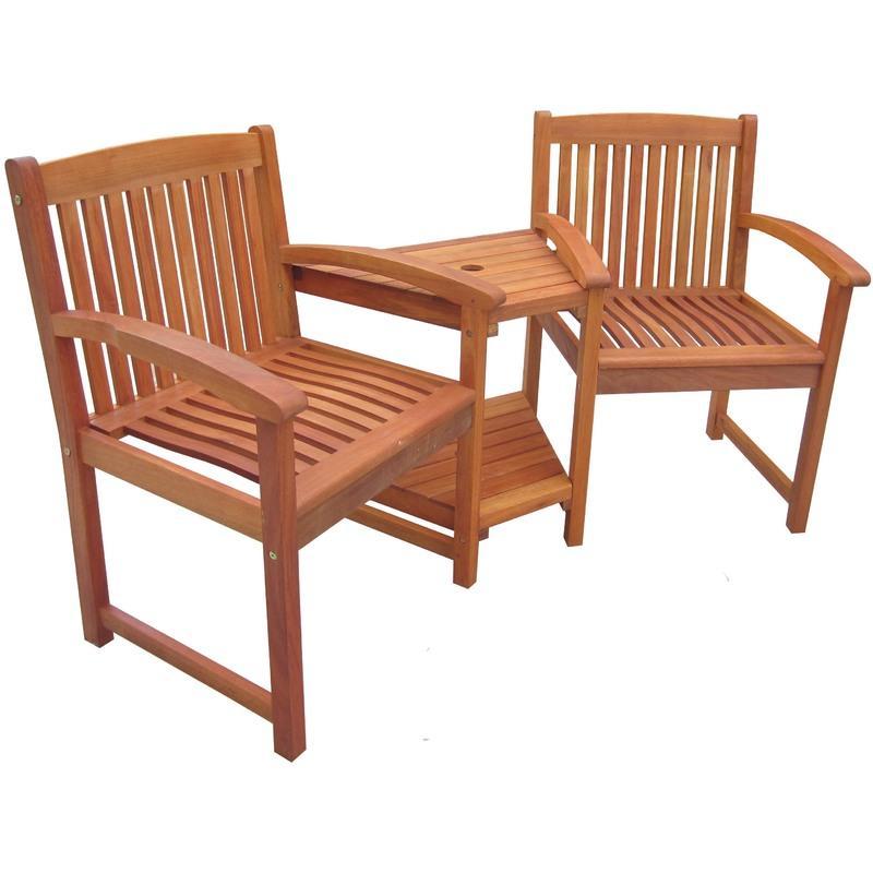 Bentley 2 chaises de jardin avec tag re table int gr e pour elle et lui - Table avec chaise integree ...