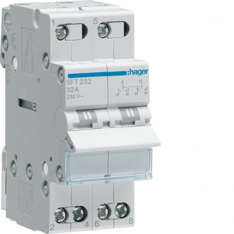 INVERSEUR MODULAIRE 2 PÔLES 32A, POINT COMMUN AMONT, I-0-II (SFT232) - HAGER