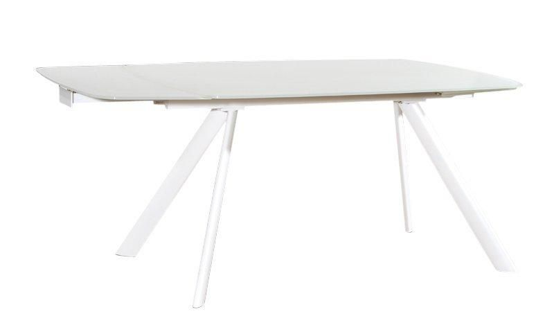 Allegria table extensible blanc plateau verre design for Table en verre extensible design