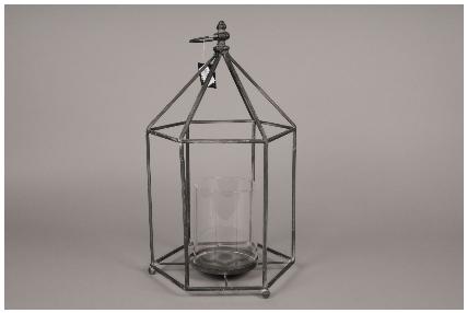 lanterne en metal noir 27 x 27cm h47cm. Black Bedroom Furniture Sets. Home Design Ideas