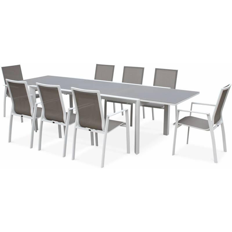 SALON DE JARDIN TABLE EXTENSIBLE - WASHINGTON TAUPE - TABLE EN ...