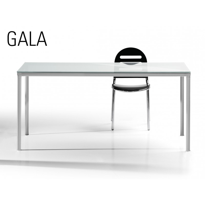 table a manger gala pietement acier plateau verre depoli couleur blanc ou noir. Black Bedroom Furniture Sets. Home Design Ideas